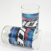 Bud Ice Lager Drinking Glasses, from Recycled Beer Bottles, 8 oz