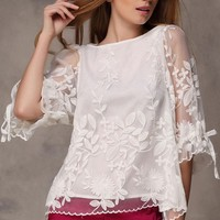 Embroidered Organza Blouse