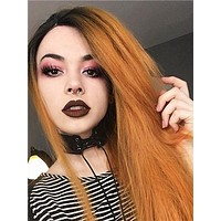 Long Dark Orange Ombre Straight Synthetic Lace Front Wig