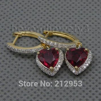 14KT Yellow Gold Vintage Heart 6mm Red Rare AAA Ruby Earrings