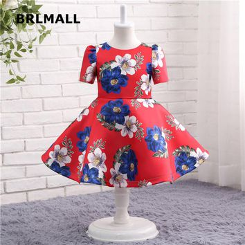 2018 Hot Sale Flower Girl Dresses  Tea Length Red Satin Pattern Short Sleeve Cheap Ball Flower Girl Gowns