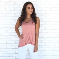 Just A Twist Jersey Tank Top In Rose Pink