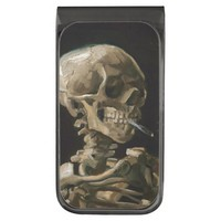 Skull with Burning Cigarette Vincent van Gogh Art Gunmetal Finish Money Clip