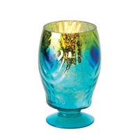 Glamorous Iridescent Peacock Inspired Mercury Glass Hurricane Candle Lantern