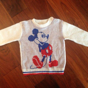 Vintage Mickey Mouse Sweater White Knit Red Blue Disney Baby 12m 2T vintage disneyana long sleeve button neck crew neck S Kids
