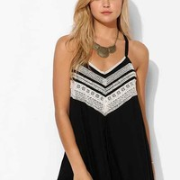 Ecote Gauze Embroidered Drapey Romper- Black
