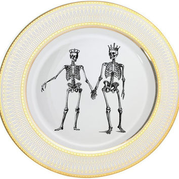 Skeleton Wedding Couple - Bride and Groom on Gold or Silver Dinnerware/Dishes/Plates, PAYMENT PLANS AVAILABLE, Discounts on Larger Orders