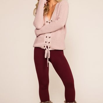 Maja Fleece Leggings - Burgundy