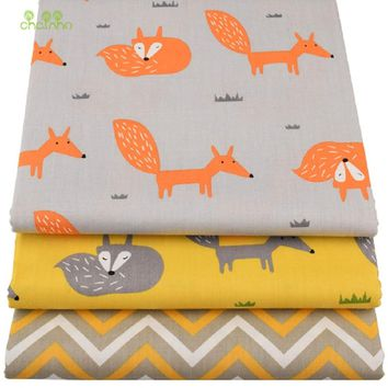 3 pcs/lot Cartoon Printed Fox Twill Cotton Fabric, DIY handmade crafts/ patchwork fabric / Quilting fabric ,Toys Material