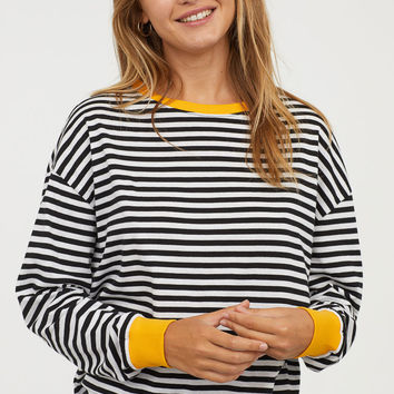 Striped Jersey Top - Black/white striped - | H&M US