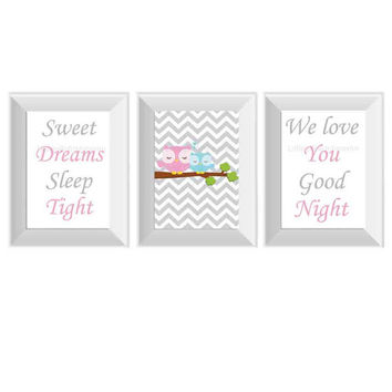 Goodnight prints set of 3- goodnight baby room, chevron owl baby, nursery quotes, owl baby shower gift, baby boy wall art, baby girl decor