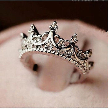 Korea Temperament Elegant Queen Silver Crown Clear Crystals Lady Rings [7956852359]