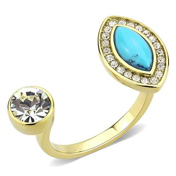 WildKlass Stainless Steel Ring IP Gold(Ion Plating) Women Synthetic Turquoise