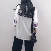 """Adidas"" Women Loose Casual Retro Multicolor Stripe Short Sleeve V-Neck T-shirt Top Tee"