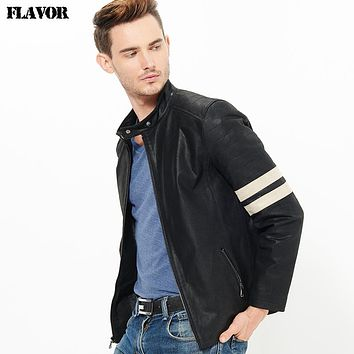 Men's real leather jacket Genuine Leather jacket men motorcycle leather coat