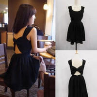 Elegant Open Back Black Mini Dress