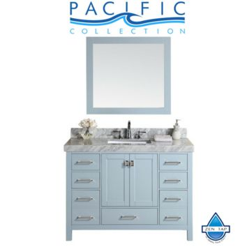 """48"""" Malibu Gray Single Modern Bathroom Vanity with White Marble Top and Undermount Sink"""