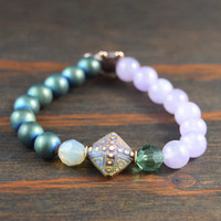 Women's Beaded Bracelet with Mood Bead. Mother's Day Bracelet. Yoga Bracelet with Hematite and Amethyst. Turtle Bracelet. Lotus & Lava.
