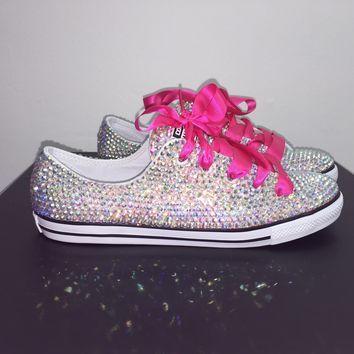 Danity All Star Converse With Double AB Crystals & Hot Pink Laces
