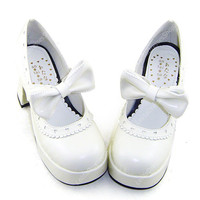 White High Heel Simple Princess PU Sweet Lolita Shoes