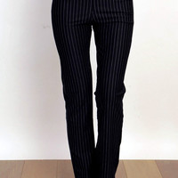 Pinstripe black dress pants slacks