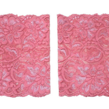 Rose Pink Wide Floral Scalloped Stretch Lace Peek a Boo Boot Cuffs Lacey Boot Cuffs