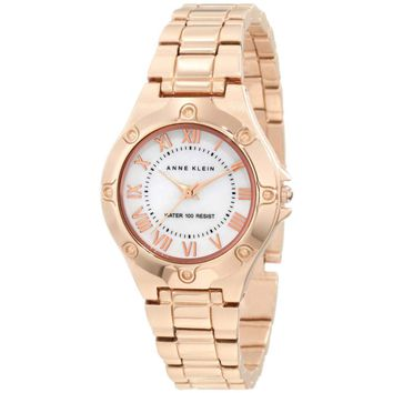 Anne Klein 10-9818MPRG Women's Rose Gold Tone White Mother of Plearl Dial Watch