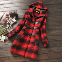 Women's winter hooded red & black plaid classic wool blend thickened coat