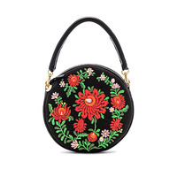 Clare V. Mexican Embroidered Circle Bag in Black
