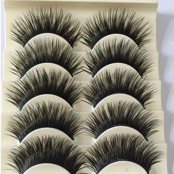 5 Pairs Women Fashion Natural Long Fake Eye Lashes Handmade Thick False Eyelashes Black Makeup Tool New