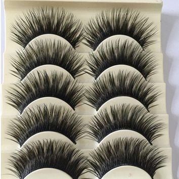 5Pairs/Set Natural Black Long Fake Eye Lashes Handmade Thick False Eyelashes Black Makeup Cosmetic Beauty Extension Tools