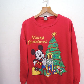 25% SALES ALERT Vintage 90's Mickey Mouse Merry Christmas Sweatshirt Funny Cartoon Street Wear Swag Pull Over Sweater