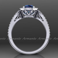 Alexandrite Engagement Ring, Diamond Halo Ring