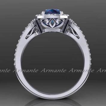 Alexandrite Engagement Ring, Halo 14k White Gold Diamond Filigree Wedding Ring Chatham Alexandrite Ring Re00012ax