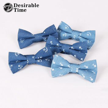Men Denim Blue Bow Tie Anchor Print Wedding Butterfly Cotton Bow Ties for Men