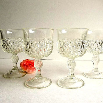 Vintage FOUR Indiana Glass wine glasses, Diamond Point pattern, Mid Century goblets, stemware, stemmed bar ware barware EXCELLENT