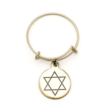Alex and Ani Star of David Spriritual Imprint Expandable Wire Ring - 14kt Gold Filled