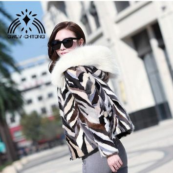 New Natural genuine real Mink Fur coat with fox hood Women Fashion All-match multi-color colorfull jacket