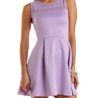 Crochet Yoke Sleeveless Skater Dress by Charlotte Russe