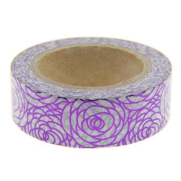 Purple Flower Foil Washi Tape Set Scrapbooking Decorative Tapes Photo Album Masking Tape Scrapbook Paper Material Escolar