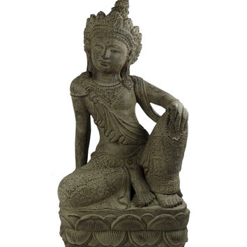 Lakshmi Hindu Goddess of Wealth Cast Stone Statue (in Tan)