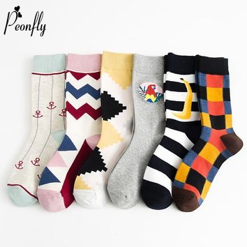 PEONFLY 2018 Autumn Winter Fashion Hit Color Socks Personality Lattice Striped Banana Diamond Pattern Socks Female Cotton Socks