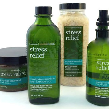 New Bath & Body Works Set Stress Relief Body Scrub, Pillow Mist, Bath Soak, Oil