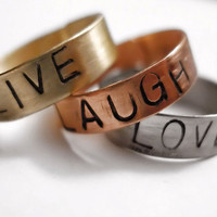Live, Love, Laugh Stamped Mixed Metal Ring Set