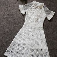 White Cutout Lace And Mesh Short-Sleeve Collared Dress
