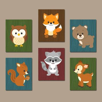 WOODLAND Wall Art, WOODLAND Nursery Decor, Canvas or Prints, Woodland Birthday, Forest Animals, Baby Boy Nursery Decor, Set of 6 Wall Decor