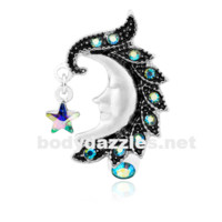 Heavenly Moon Face Reverse Drop Top Belly Button Ring 14ga Navel Ring Body Jewelry