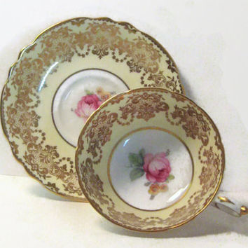 Vintage Paragon Tea Cup & Saucer Fine Bone China Pink Rose Yellow Boarder