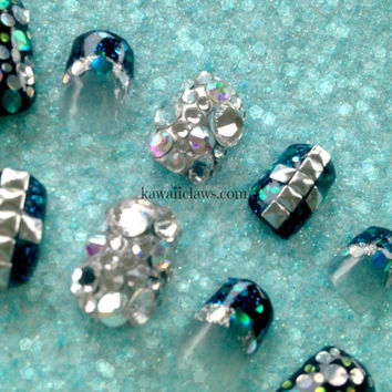 Silver black and teal blue holographic glitter Dots studs False/Fake Nails glam swarovski