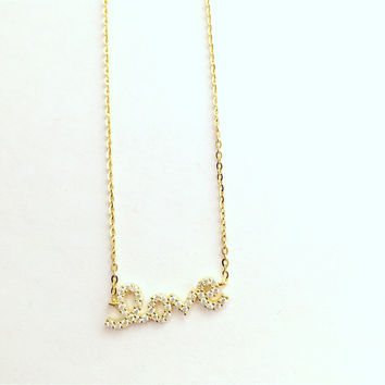 Gold Color Sterling Silver Love Necklace